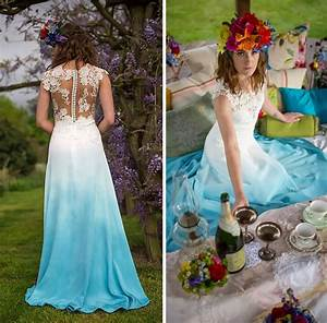 dip dye wedding dress trend will make your big day more With dip dye wedding dress