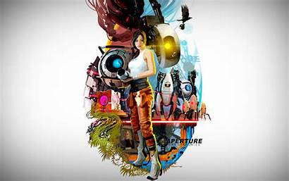 Portal Wallpapers Poster Pc Chell Glados Background