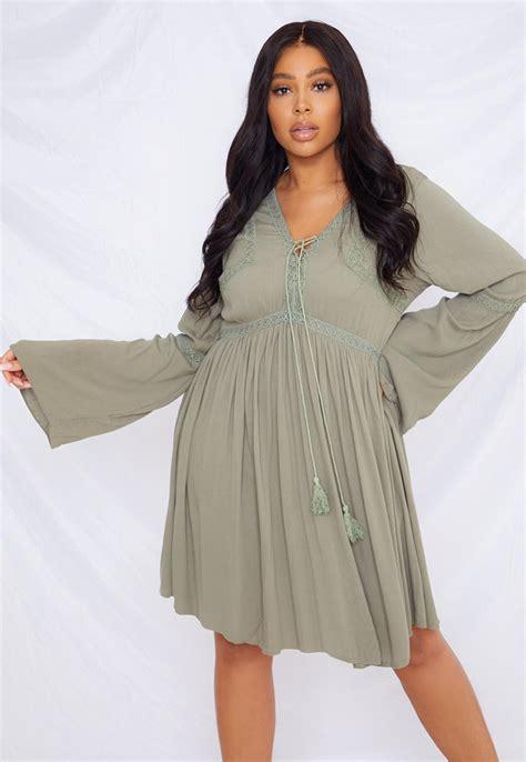 Plus Size Khaki Crochet Kimono Sleeve Dress | Missguided