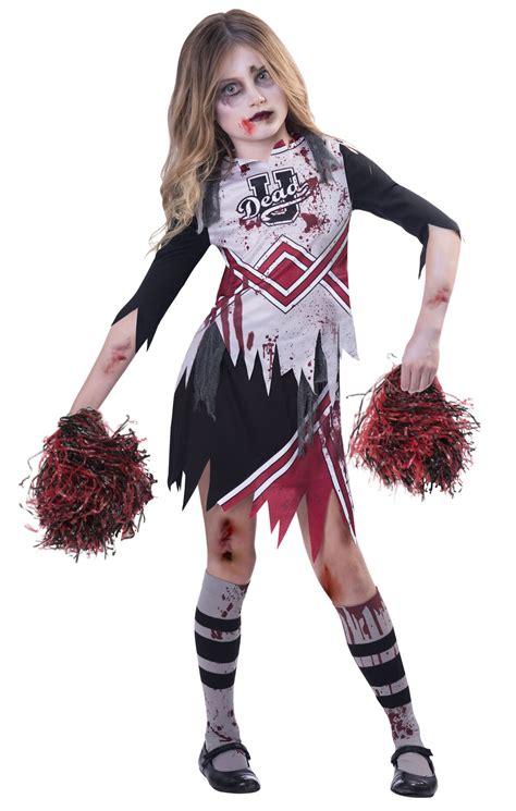 Zombie Cheerleader Girls Fancy Dress Kids Childrens Childs