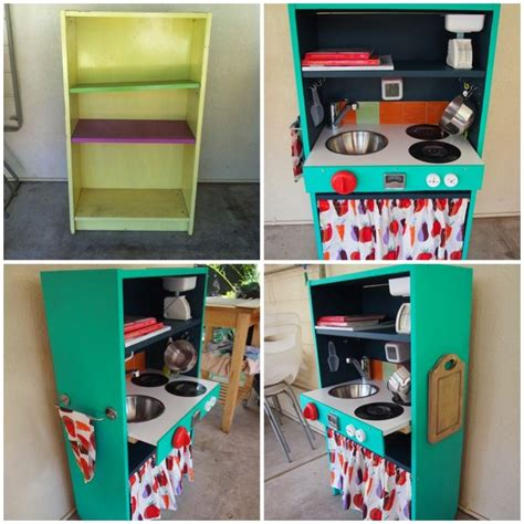 Diy Kids Kitchen From Bookcase Before And After Restored