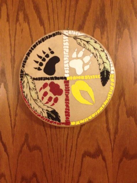deer skin hand drum hand painted medicine wheel native
