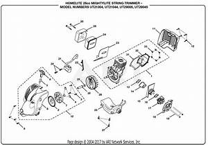Homelite Ut21044 26cc Mightylite String Trimmer Parts
