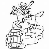 Barrel Racing Coloring Pages West Cowboy Western Colouring Printable Freeprintablecoloringpages Rodeo Barrels Colour Sketches sketch template