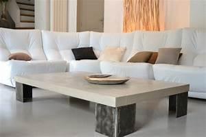 Table Basse En Beton : tables b ton et acier design ~ Farleysfitness.com Idées de Décoration