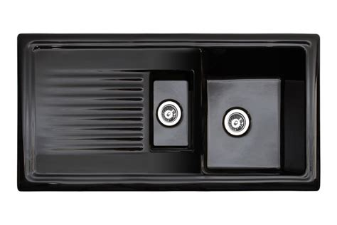 black ceramic kitchen sinks reginox black ceramic sink with drainer 1 5 bowl 4659