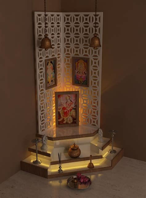 Home Temple Interior Design by 8 Beautiful Pooja Room Lighting Ideas