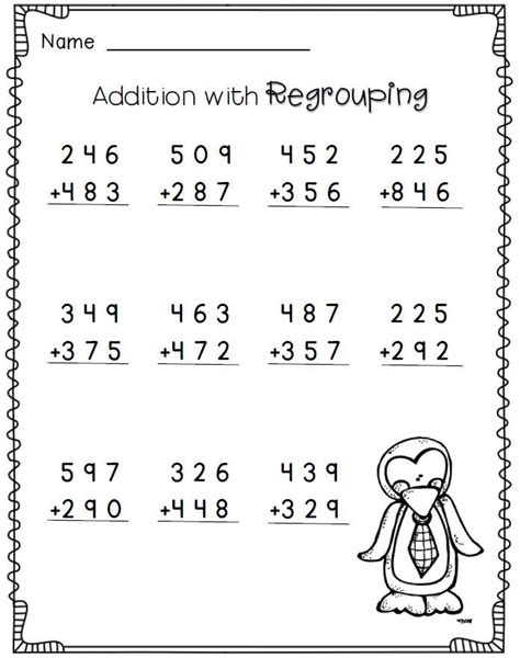 2nd grade math worksheet 2 digit addition 3 digit addition with regrouping 2nd grade math