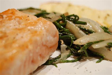 saumon poêlée de chicons et salicorne petit de