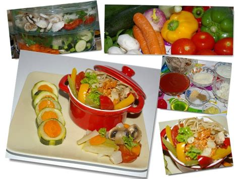 de cuisine qui cuit méli mélo de légumes au cuit vapeur et sa sauce tomate
