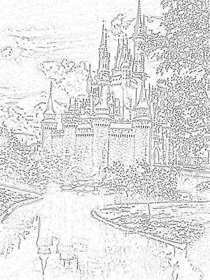 Coloring Disney Pages Walt Castle Magic Kingdom