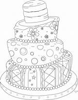 Cake Coloring Digi Whimsical Stamp Cute Birthday Pages Cakes Wedding Pretty Stamps Digital Drawing Adult Colouring Draw Printable Google Paper sketch template