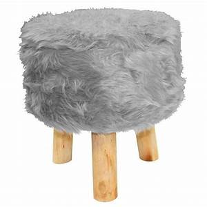 Pouf Fausse Fourrure : tabouret imitation fourrure grizzly gris achat vente tabouret gris cdiscount ~ Teatrodelosmanantiales.com Idées de Décoration