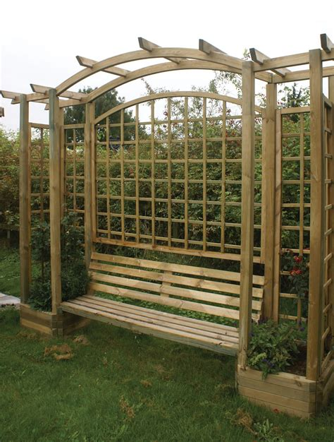 Garden Bench With Trellis by Trellis Arbour With Planters