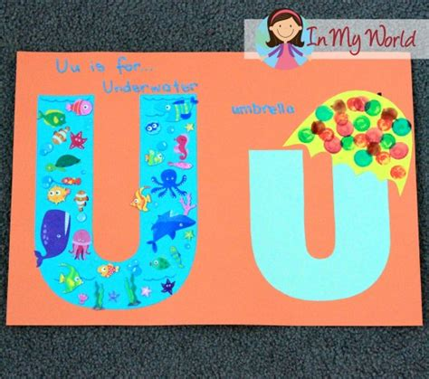 preschool letter u in my world 344 | FREE Letter templates for alphabet crafts underwater and umbrella