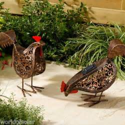 2 solar powered led hen animal ornament garden outdoor metal rustic statues ebay
