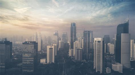 skyscrapers  jakarta city  sunset editorial