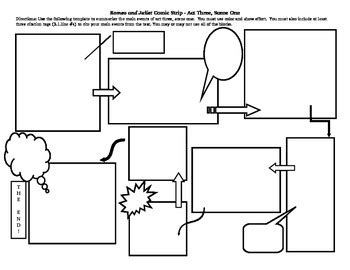 make your own comic template comic template for romeo and juliet by william shakespeare