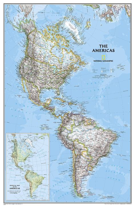 map   americas   wall national geographic