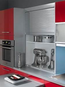 petite cuisine 12 astuces gain de place rouge cerise With meuble bas de cuisine 60 cm 6 meuble angle coulissant cuisine clasf