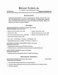 college resume template for high school students best With best resume for college students