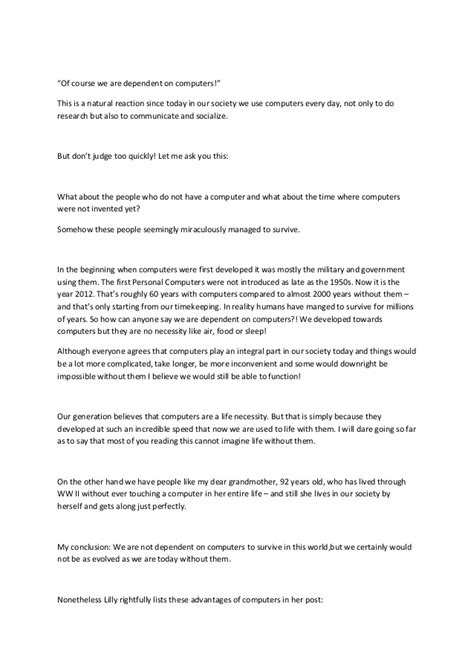 Argumentative Essay On Technology Dependence by Argumentative Essay