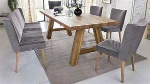 Stuhl Grau Eiche : essgruppe lynn eiche massiv 1x bank 4x stuhl in grau ~ Markanthonyermac.com Haus und Dekorationen