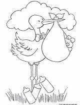 Stork Coloring Diaper Printable Boy Bundle sketch template