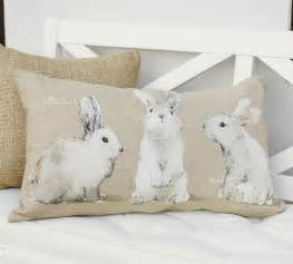 behind the design pottery barn s watercolor bunny pillows