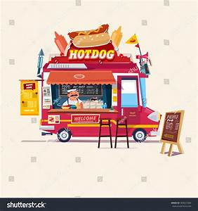 Hot Dog Food Truck. Street Food Truck Concept With ...