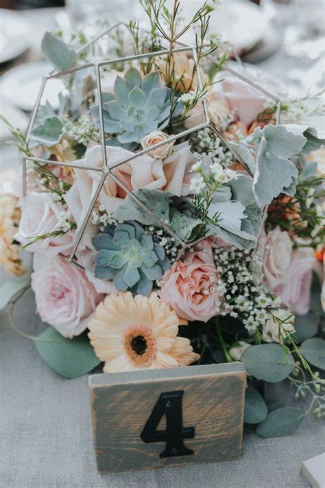 geode succulent wedding centerpiece with pink and peach