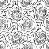 Roses Coloring Seamless Contours Flowers Rose Lines Farfalle Bianco Nero Fondo Delle Printable Depositphotos Drawing Birthday Drawn Abdruck Druck Vektor sketch template