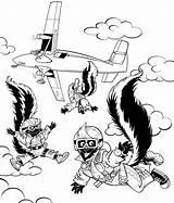 Coloring Skydiver Fuller Rocky Template Skunks Hidden Skydiving Popular sketch template