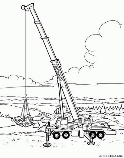 Coloring Crane Construction Wrecking Ball Vehicles Baufahrzeug