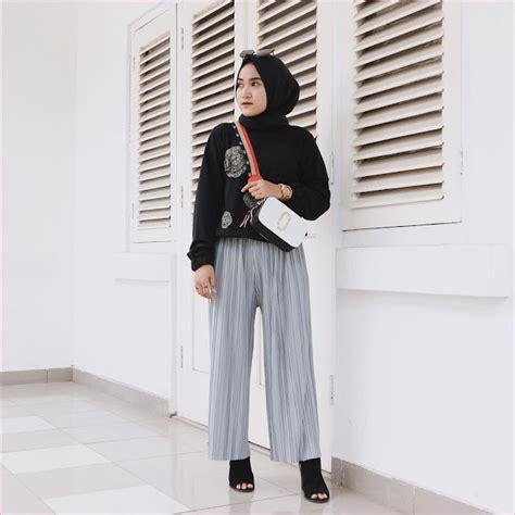 pilihan outfit celana kulot  hijabers ala