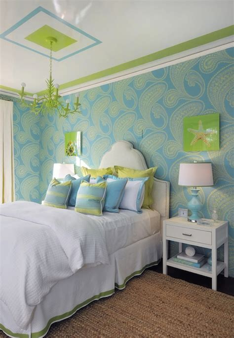 Turquoise And Green Teen Girl's Room Contemporary