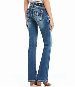 Juniors Jeans Size Chart Miss Me Heavy Stitch Flap Pocket Bootcut Jeans Dillard 39 S