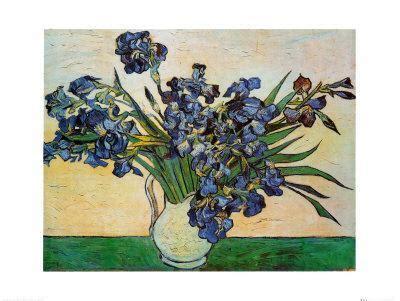 vase  irises  art print  vincent van gogh