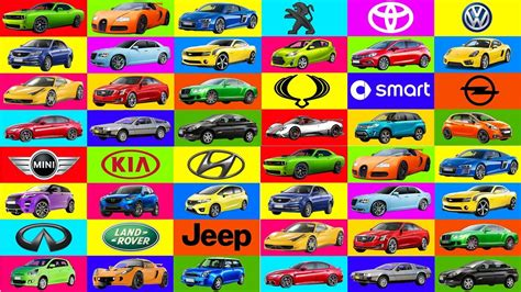 A To Z Brand Of Cars Names. Transportation For Kids
