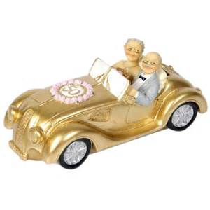 anniversary cake toppers golden wedding doll in golden car 50th wedding