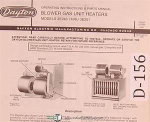 Dayton Blower Gas Unit Heaters  Model 3e248 Thru 3e251