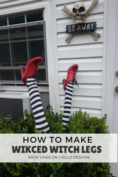 scary ideas for decorations outside how to witch legs grillo designs