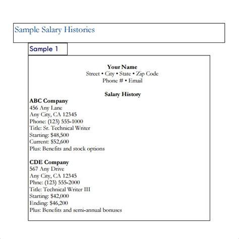 sample salary history templates   ms word