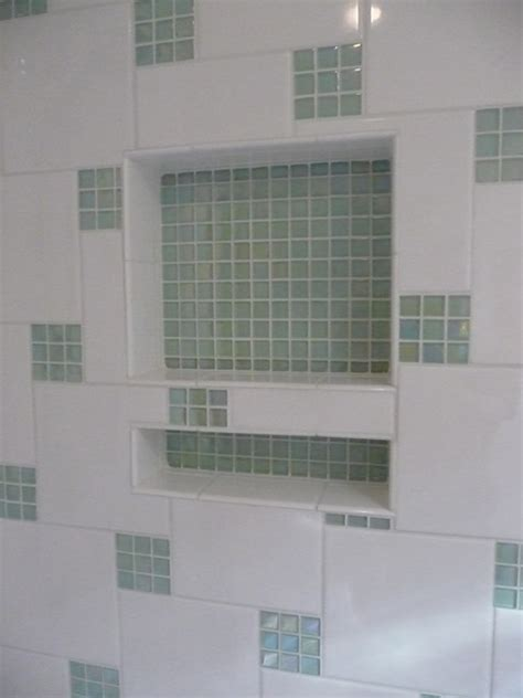 shower tile with glass accent glass tile accents in shower contemporary bathroom st louis by g k remodeling