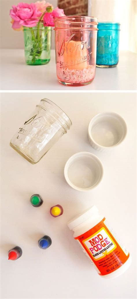 Jar Home Decor Ideas by Diy Colored Glass Jars Click Pic For 20 Dollar
