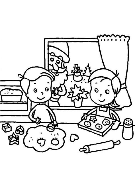 These free, printable christmas coloring pictures are fun for kids during the holiday season. Two Kids Are Baking Cookies For Christmas Celebration ...