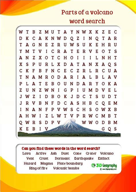 parts of a volcano word search colourful and child