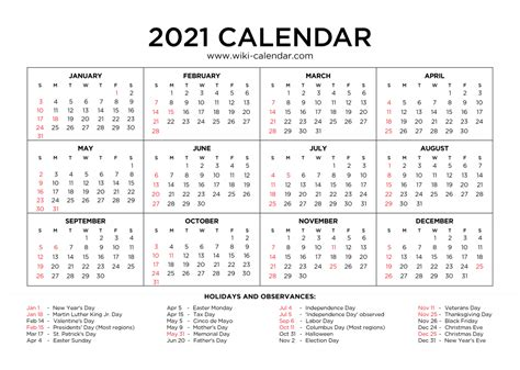 31+ Free Printable 2021 Monthly Calendar With Holidays  Images