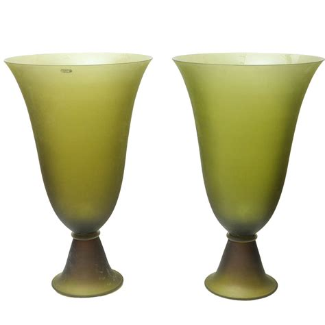 Green Vases For Sale by Pair Of Seguso Apple Green Vases For Sale At 1stdibs