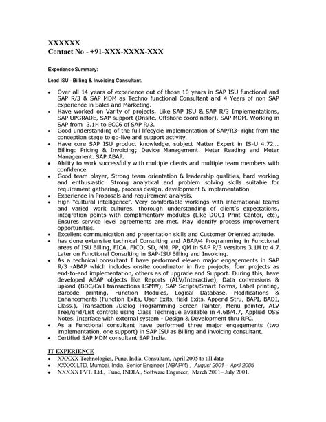 Sap Isu Fica Resume by Sap Is Industry Solutions Sle Resume 14 00 Years